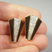 Art Deco Style 14k Gold Onyx & Diamond Earrings.. Omega Backs... 14.2 grams!