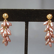 14k & Pink/Mauve Freshwater Pearl Dangle Earrings... Lovely!!
