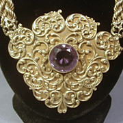 Amazing Victorian Sterling Silver & Amethyst Necklace or Belt...159.6g...90cts Amethysts!