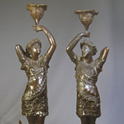 Figural Man & Woman Bronze Classical Candlesticks..15&quot; tall, 7.37 pounds