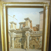Francois Martin (19thC) Original Watercolor Painting Foro di Nerva, Rome.. Listed French Artis