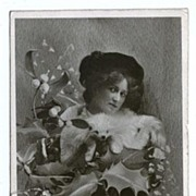 REDUCED Vintage Christmas Postcard with Glamorous Lady Tuck Real Photo