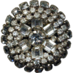 Big Round Deep Vintage Clear Rhinestone Pin - A Dazzler