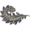 Signed CORO Rhodium Feather Pin w/ Aurora Borealis Rhinestones