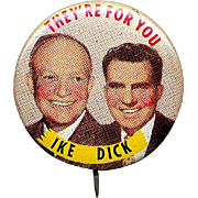 1952 Tin Litho Political Jugate Pin ~ IKE & DICK They're For You ~