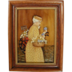 Vintage 'Outsider' Folk Art Oil Painting - The Flower Lady - Framed & Signed