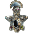 Huge Sterling Silver BRON Handcrafted FIGURAL Ring w/ Gemstones