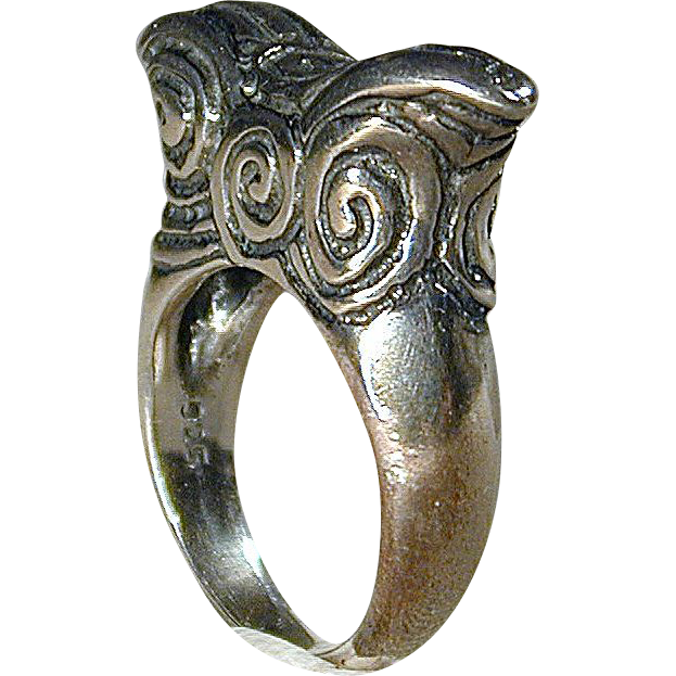 Mexican Sterling Silver Ring Unique Aztec Design - Handwrought