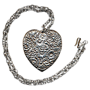 Big Vintage Sterling Silver HEART Pendant - Embossed All Over w/ Flowers