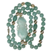 Carved Aventurine Pendant Beaded Necklace w/ Gold-Filled Beads
