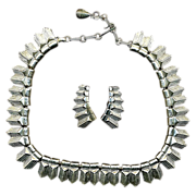 Vintage CORO Art Deco Silvertone Demi - Necklace & Earrings