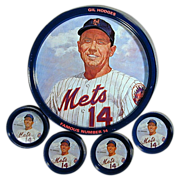 1969 Gil Hodges N.Y. Mets Tin Tray & Coasters Set