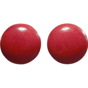 Vintage Round Cherry Red Bakelite Earrings c1940s