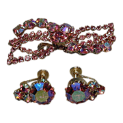 Vintage Pink Aurora Borealis Rhinestone Demi Pin & Earrings
