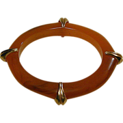 Vintage Lucite Butterscotch Oval Bangle Bracelet w/ Brass