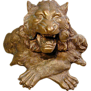 SOLD - Ferocious Roaring Lion Bronze Inkwell - SOLD