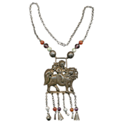 Antique Chinese Silver Qilin & Beads Figural Pendant Necklace