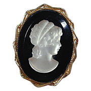 White Mother-of-Pearl on Black Pin / Pendant - 10K Gold Frame
