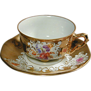 Vintage Pirkin Hammer Czech Cup & Saucer Gilded Flowers