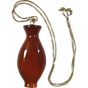 Vintage Carnelian Urn 10K Gold Pendant on Sterling Gilt Box Chain