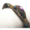 1920's Chinese Silver Vermeil Filigree Enamel Amethyst Bracelet