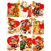 Lot of 1940s Valentine Cards - Kids - Sports - Hearts - Puppy Love