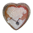 14K Gold Heart Shaped Carved Cameo en Habille Pin - Pendant