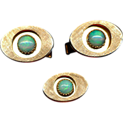 Vintage 14K Gold Cufflinks & Tie Tack Set w/ Australian Opals