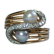 Estate 18K Yellow Gold Cocktail Ring w/ Diamonds & Genuine Pearls