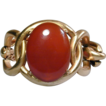 Bold Old Gold-Tone Bracelet w/ Big Hunk of Carnelian