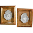 Pair of Old German Jasperware Plaques In Shadow Box Frames