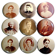 Collection of Victorian Big Celluloid ~Button~ Photos Portraits