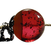 Big Red Ball of Lucite Space Age Sparkles Pendant Necklace