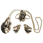 Vintage Sterling Silver CALLA LILY Parure Set Pendant Bracelet Earrings