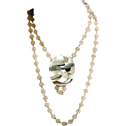 Lady w/ Big Hat Mother-of-Pearl Pin and/or Necklace w/ Quartz Beads