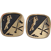 1950s GOLFER Silvertone & Black Golf Cufflinks