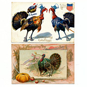 2 Thanksgiving Day Greetings Postcards - Victorian 1911