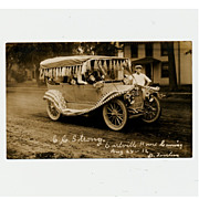 Unused 1912 Real Photo Postcard Parade Car Earlville Illinois