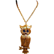 "The Biggest Bestest OWL Pendant Ever - Glowing Blue Eyes 6"" High"