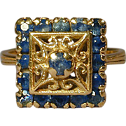 Old Estate Sapphire 18K Yellow Gold Cocktail Ring Deco Era