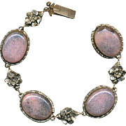 'Wow...That's Beautiful' Old Czech Bracelet w/ Pink Glass Cabs