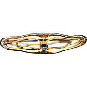 Antique Victorian 14K Yellow Gold Curvy Little Pin Brooch