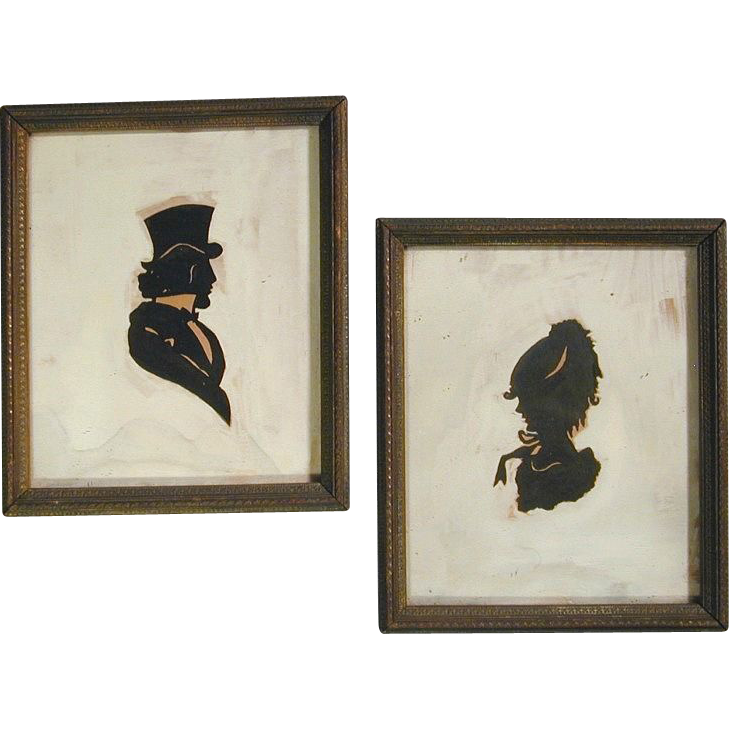 Antique Pair Victorian Silhouette Portraits Painted - Framed 1870s
