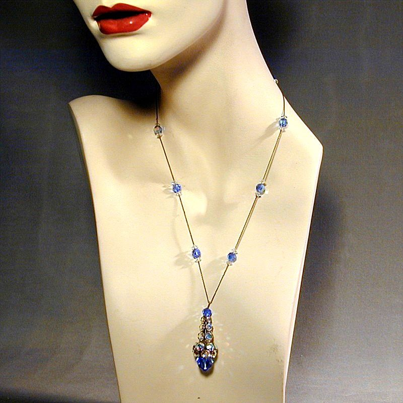 Art Deco Aurora Borealis Crystal & Sterling Sautoir Necklace