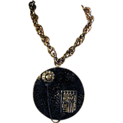 Big Old USSR Hammered Plaque Pendant w/ King Necklace