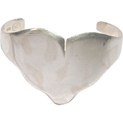 Los Ballesteros Taxco Sterling Silver HEART Cuff Bracelet