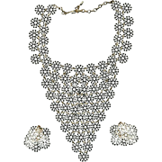 Big Lacy VENDOME Enameled White Bib Necklace w/ Earrings