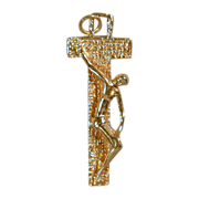 Modernist Solid 14K Gold Christian Crucifix - Unusual Design