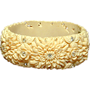 Vintage Celluloid Plastic Clamper Bracelet Thick With Flowers
