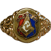 Vintage Masonic Union Gold-Filled Enamel Ring JR. OUAM